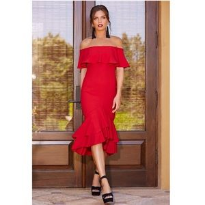 Boston Proper Sexy Red Dress Off The Shoulder Midi